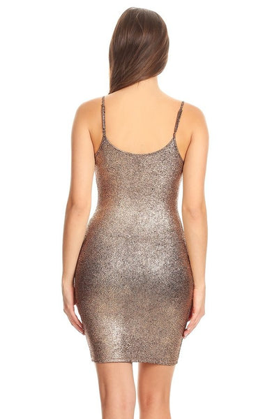 Metallic textured, sleeveless mini dress in a bodycon fit, with a scoop neck, open back, and spaghetti straps.