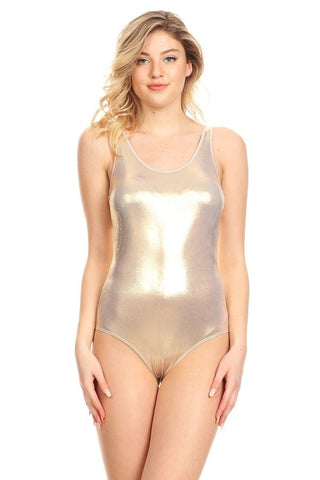 Rose Gold basic scoop neck bodysuit