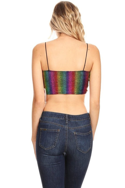 Rainbow striped metallic textured sleeveless crop top