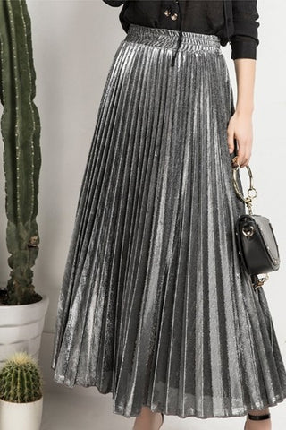 Long Dark Silver Pleated Skirt