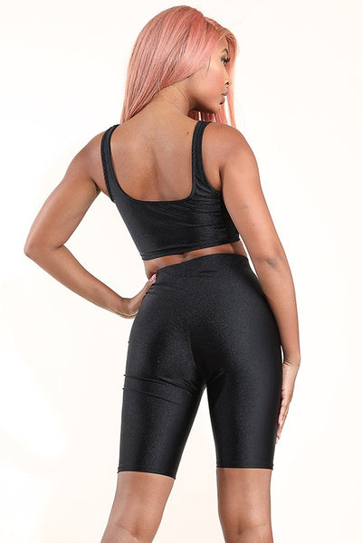 Black Nylon Spandex Tank Top