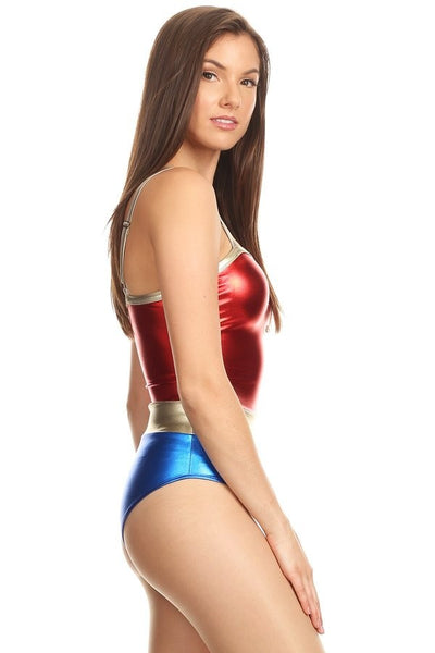 Lame´ Red Gold and Blue bodysuit