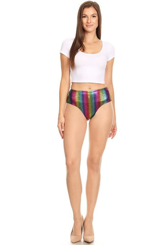 Printed Rainbow Booty Shorts