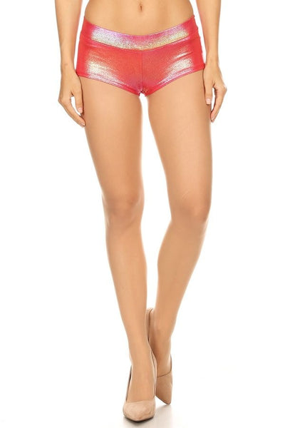 Iridescent low rise hot shorts in a fitted style, with an elastic waistband