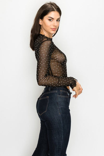 Long Sleeve Sheer Top with Rhinestones