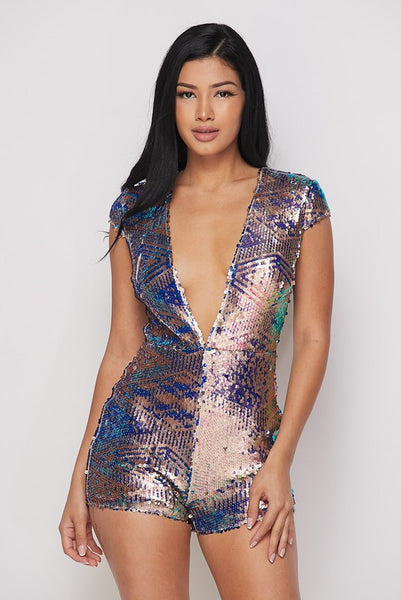 Gold Sequin Romper with Back Zipper
