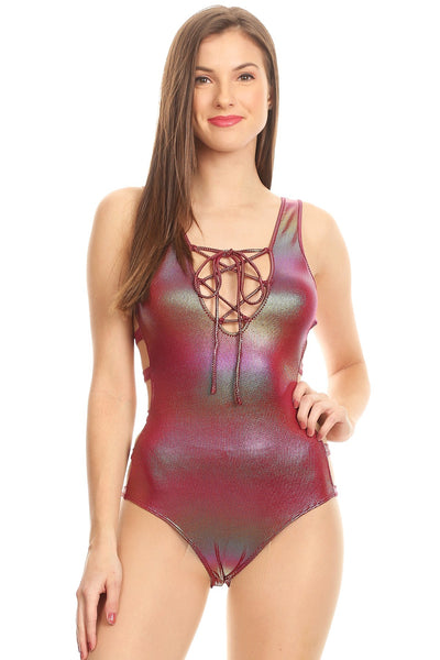 Multicolored metallic, sleeveless bodysuit in a fit style, with a lace up v-neck, low back, and side cutouts