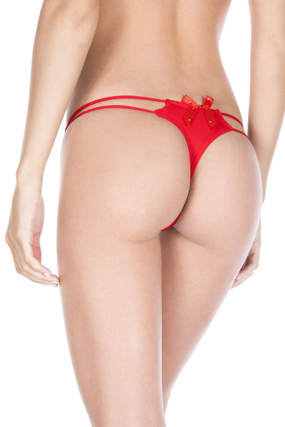Red O-ring with back bow panty