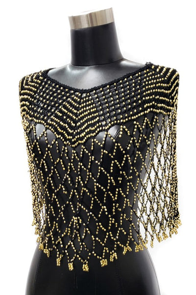 Crochet Net Poncho Cape with Gold Bead