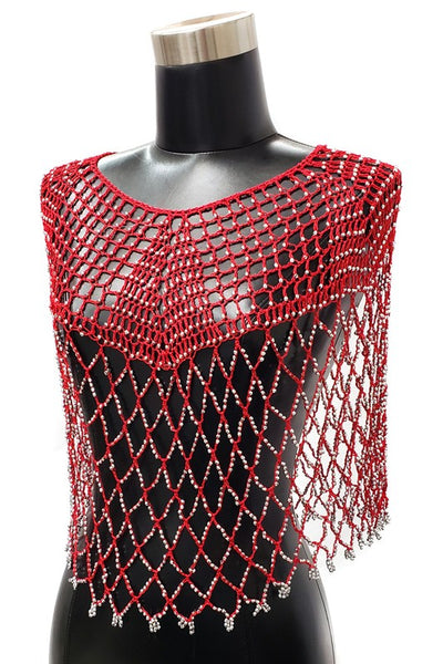 Crochet Net Poncho Cape with Silver Bead