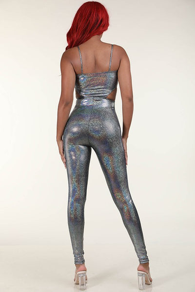 Silver White Hologram cutout catsuit