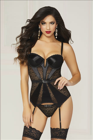 Black Satin & Geo Lace Bustier & Thong