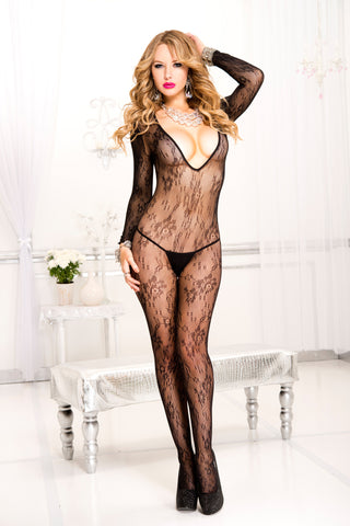 Long Sleeve Lace Crotchless Bodystocking