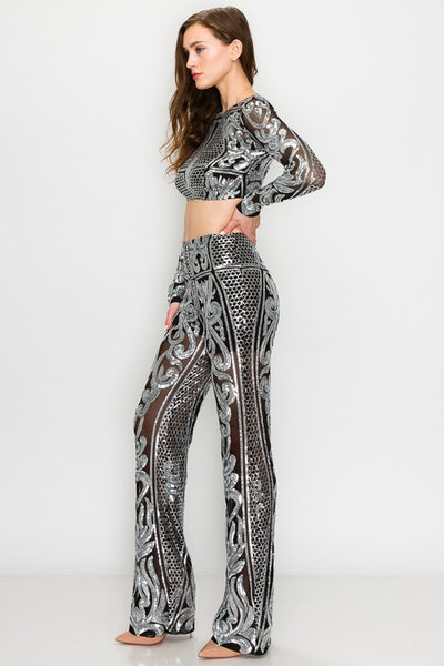 2 PC Long Sleeve Silver Sequin Top and Pant Set