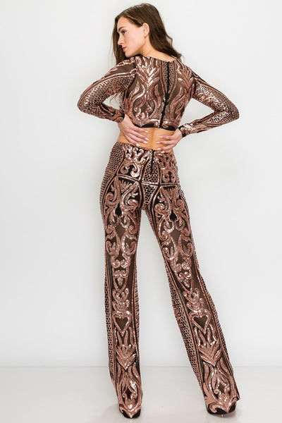 2 PC Long Sleeve Rose Gold Sequin Top and Pant Set