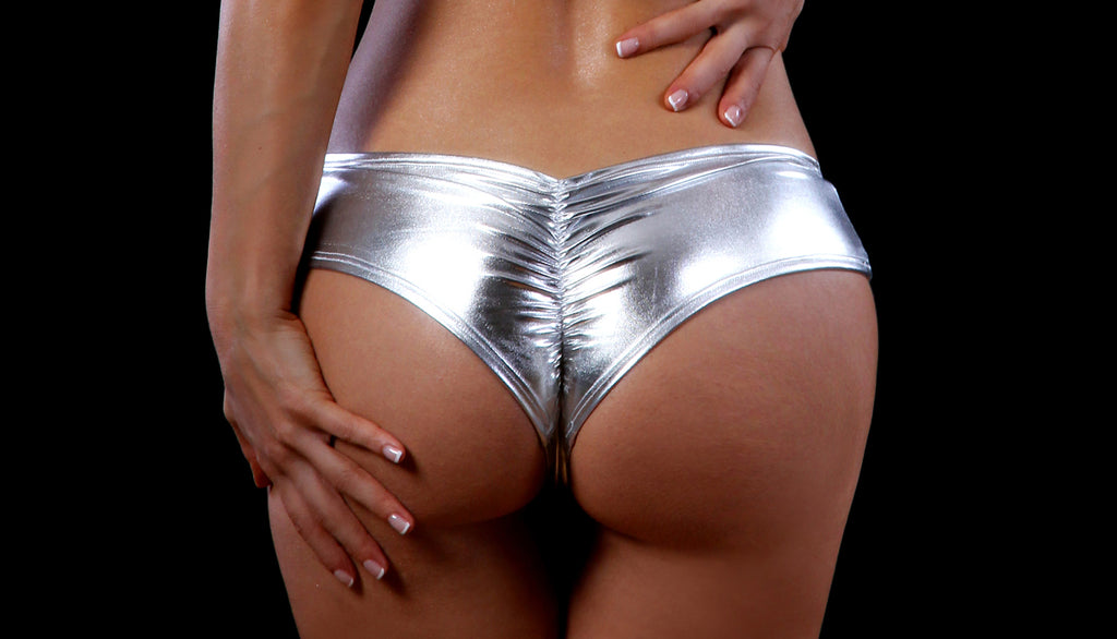 Foil Scrunch Back Super Micro Shorts