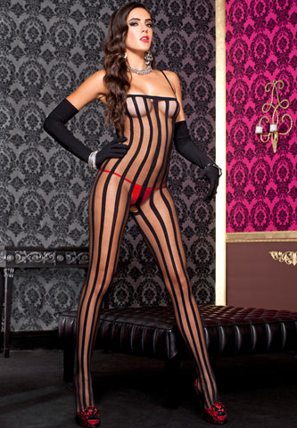 Sheer And Opaque Crotchless Bodystocking