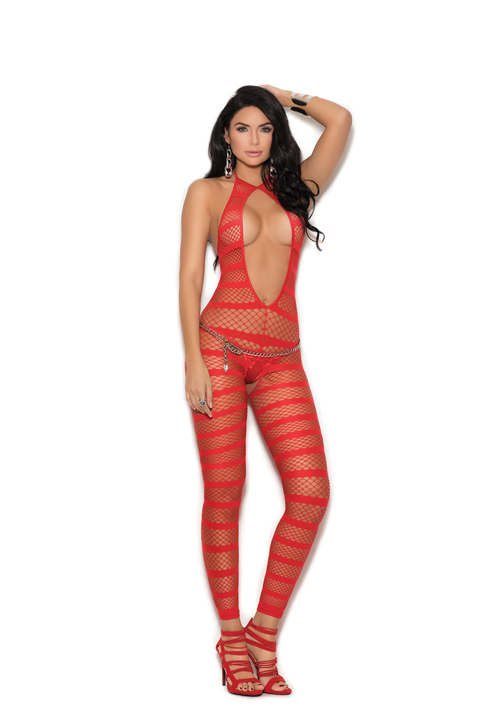 Red Striped Bodystocking