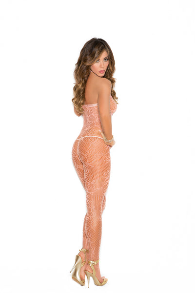 Scroll Pattern Fishnet Bodystocking