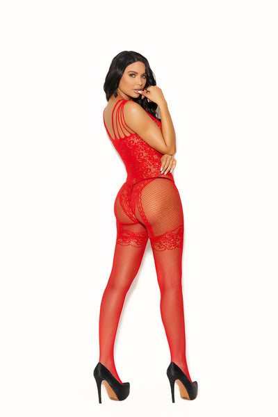 Red Fishnnet And Lace Bodystocking