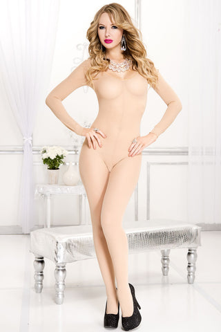Opaque scoopneck long sleeve bodystocking.
