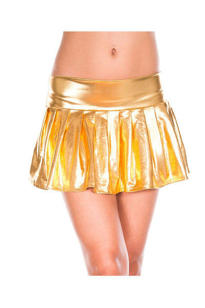Gold High waisted pleated skirt