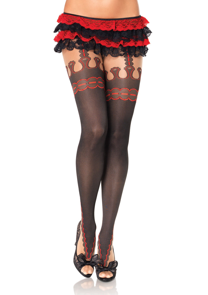 Marquee Print Spandex Sheer Pantyhose With Faux Garterbelt Detail