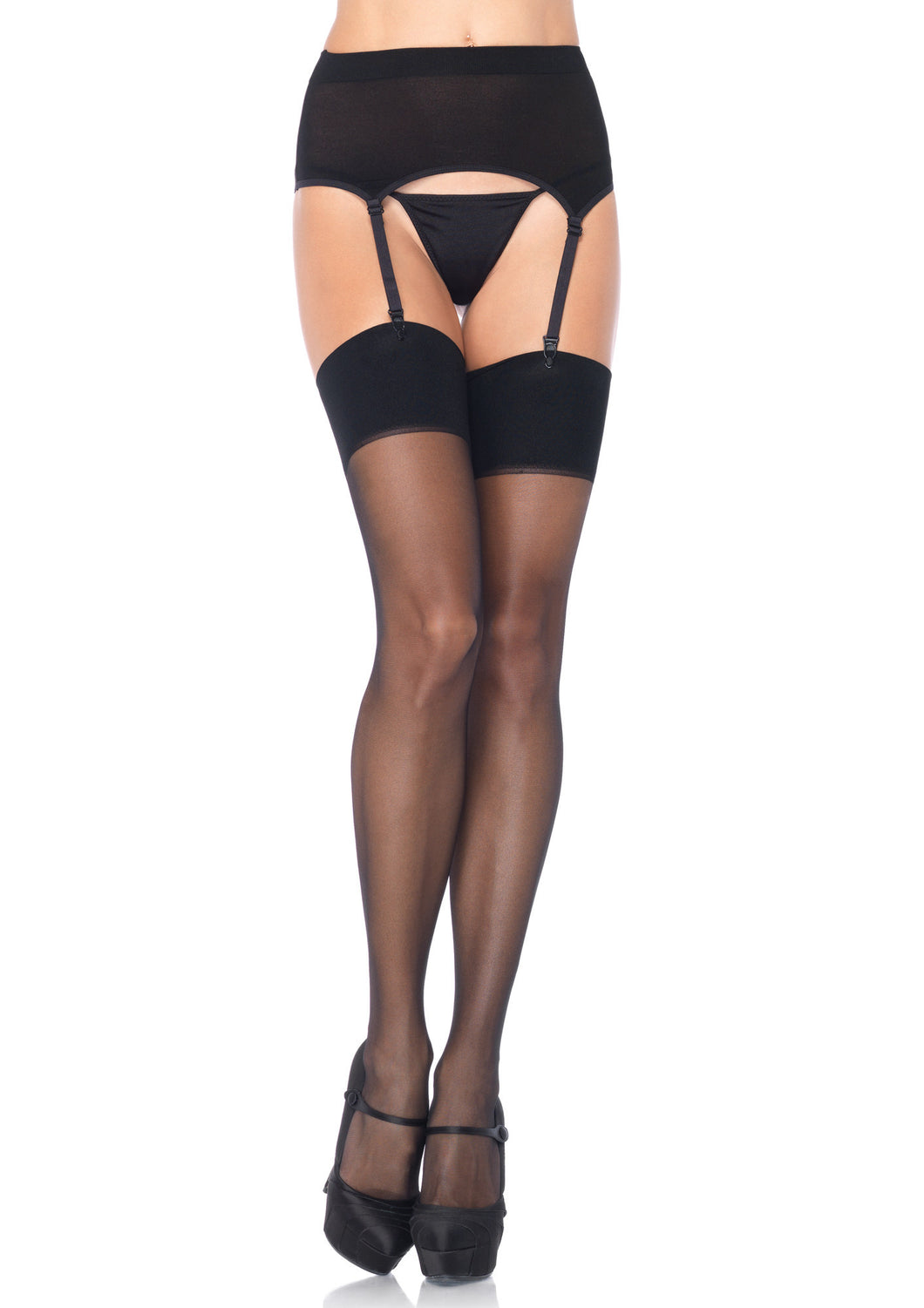 2PC.Spandex Sheer Garter Belt And Stocking Set