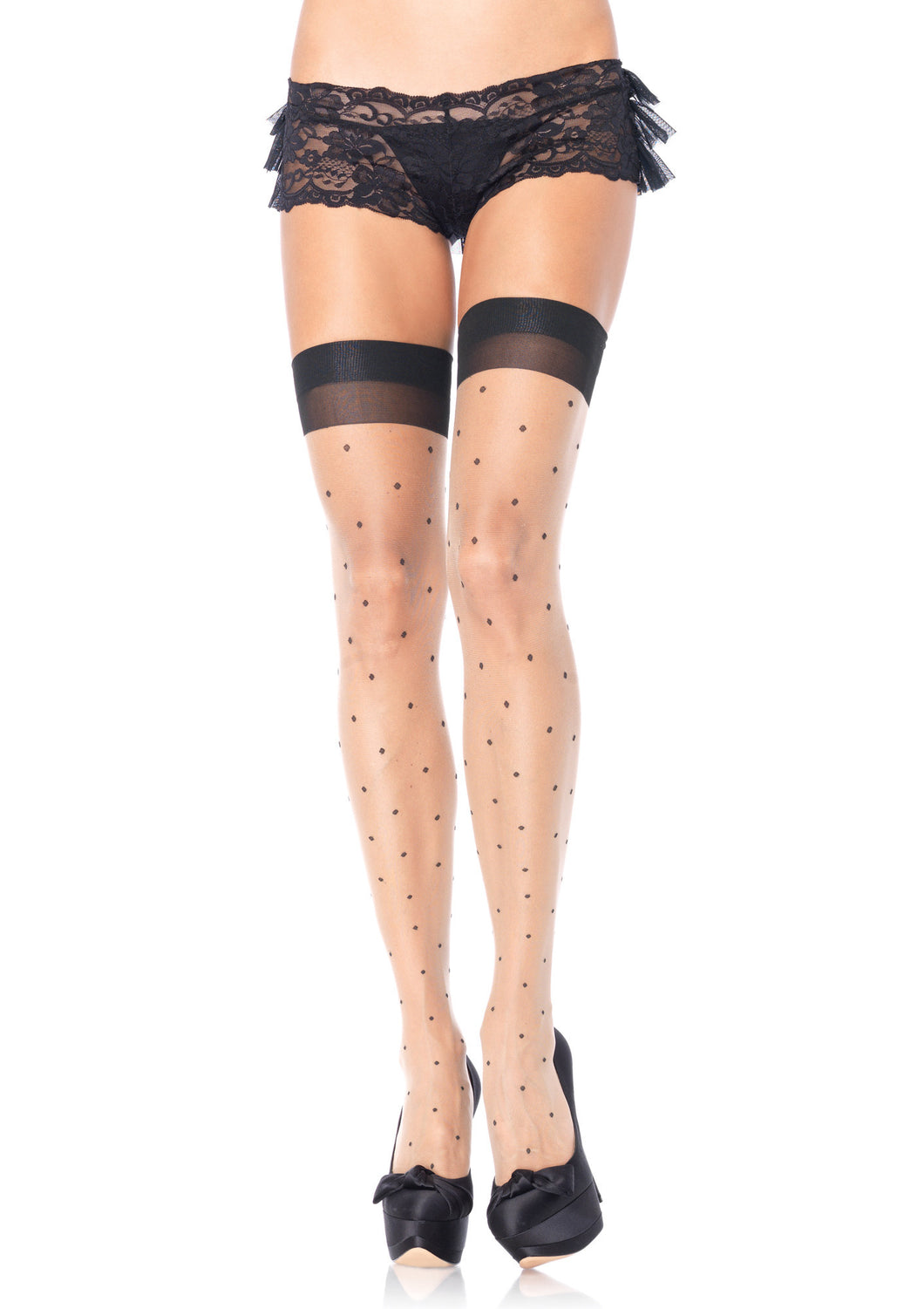 Polka Dot Spandex Sheer Thigh Highs W/Cuban Heel