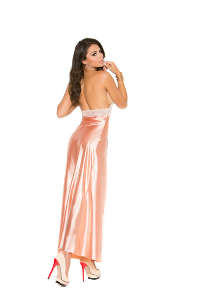 Peach Lace and charmeuse halter neck gown