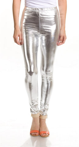 Men's Silver Shiny Legging Unisex