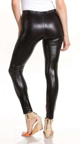 Men's Black Shiny Legging Unisex