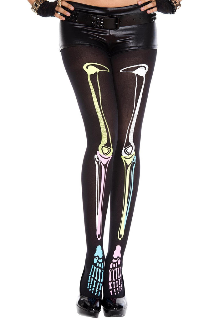 Multi Color Skeleton Print Tights