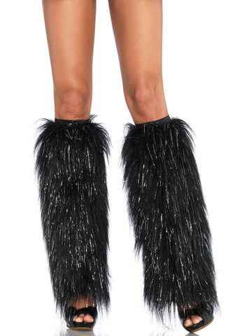 Black Furry Lurex Leg Warmers