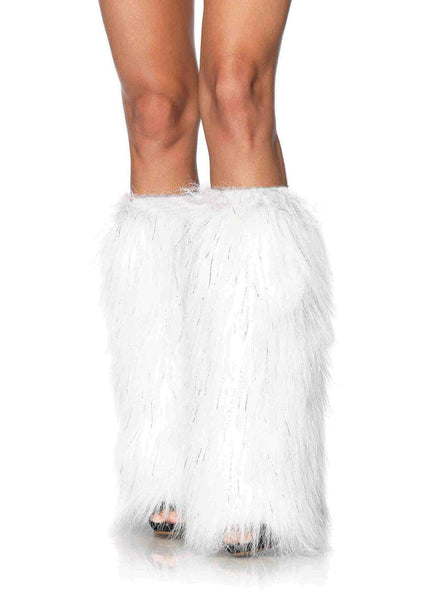 White Furry Lurex Leg Warmers