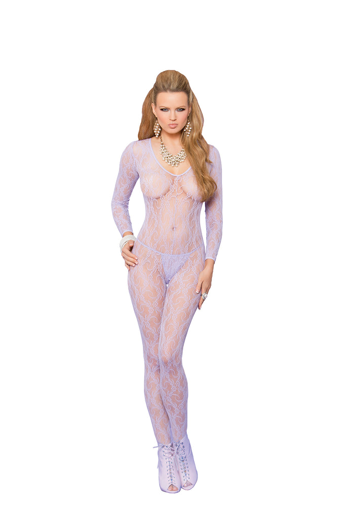 Long Sleeve Lace Bodystocking with Open Crotch