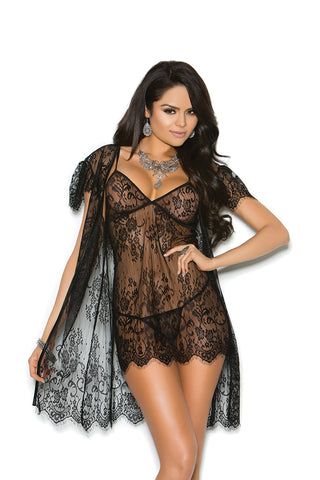 Eyelash Lace Gown and Robe with Matching G-String
