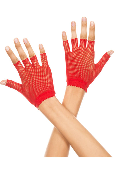 Fishnet wrist length short glove
