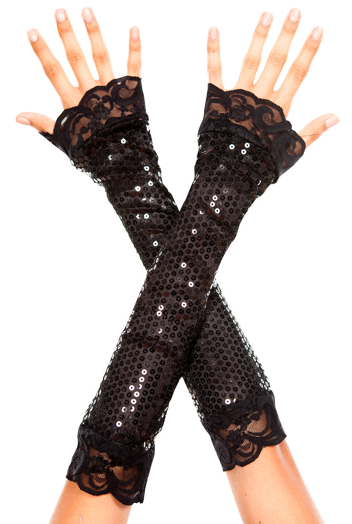 Black elbow length sequin with lace trim arm warmer