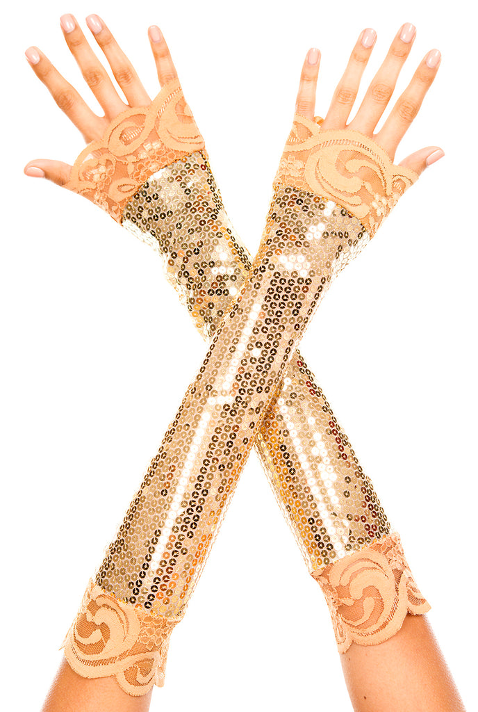 Gold Elbow length sequin with lace trim arm warmer