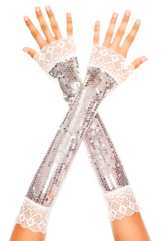 Silver elbow length sequin with lace trim arm warmer