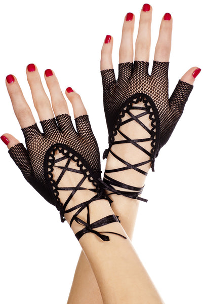 Lace up wrist length fishnet fingerless gloves