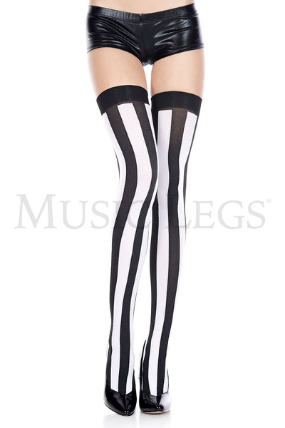 Black and Hot Pink Vertical Striped Opaque Thigh Hi