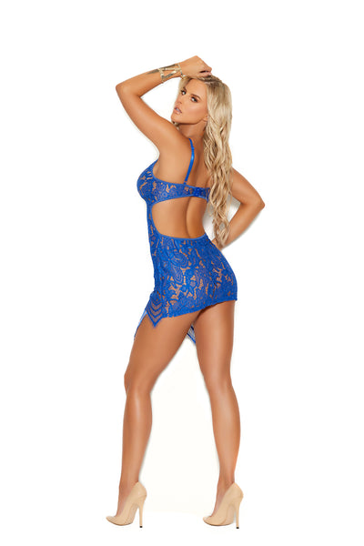 Lace Royal Blue Babydoll with Adjustable Straps