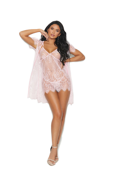Black Eyelash Lace Gown and Robe with Matching G-String