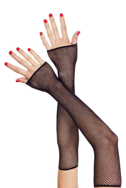 Extra long fishnet fingerless gloves