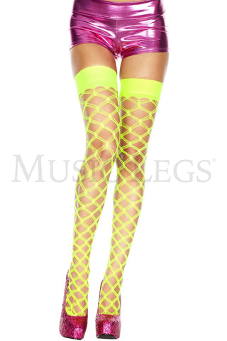 Multi strands spandex diamond net thigh hi