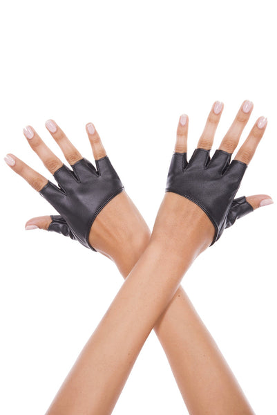 Short faux leather fingerless gloves