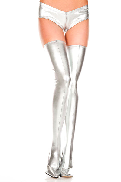 Silver Lace Up Wet Look Thigh Hi
