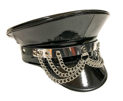 PATENT LEATHER VINYL HAT WITH CHAINS